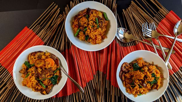 Jollof rice is a popular food at parties, ceremonies and weddings across West Africa (Credit: Credit: Patti Sloley)