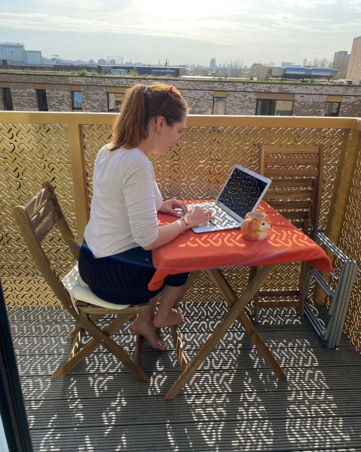Anastasia Balandina works from her balcony when the weather is nice (Credit: Anastasia Balandina)