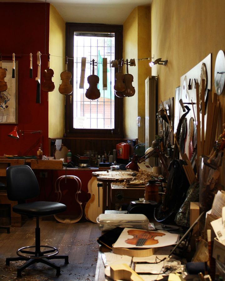 """The workshop of Stefano Trabucchi, who says """"the Coronavirus will be a watershed"""" moment for the city's violin makers (Credit: Michela Vado)"""