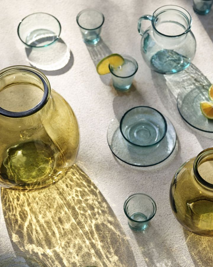 A growing number of brands, including H&M Home pictured here, are using recycled glass in their pieces (Credit: H and M Home)