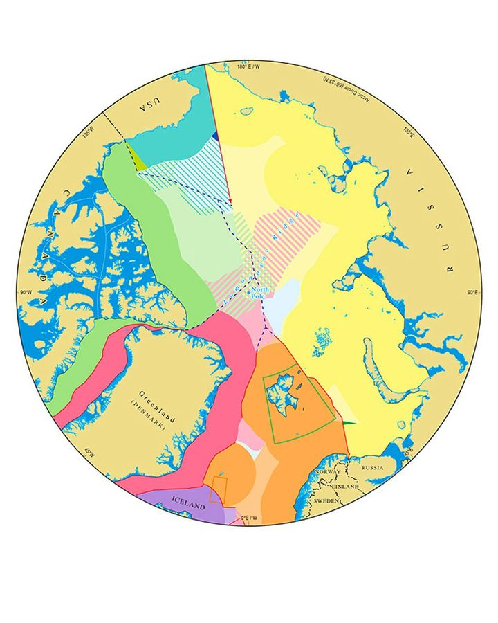 Three nations' claims to the Arctic seabed overlap, including an area of more than 50,000 square nautical miles around the pole (Credit: IBRU Durham University UK)