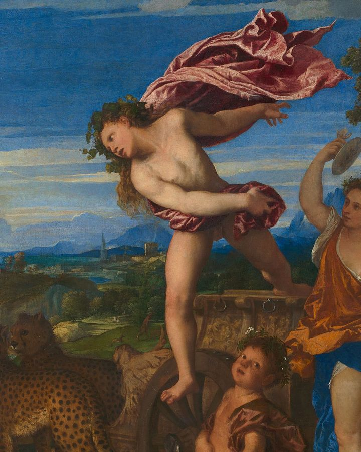 Bacchus appears frozen in mid-air, blasted from his seat – but is this the result of love or is there a more down-to-earth explanation? (Credit: National Gallery)