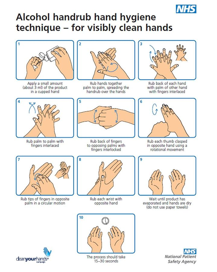 In the UK, charts showing the correct way to wash hands - or clean them with sanitiser - were shared in the early days of the pandemic (Credit: NHS)
