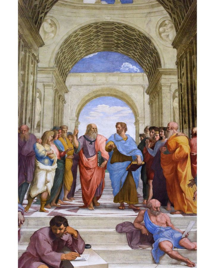 At first glance, Raphael has depicted Plato in a straightforward way, walking down steps next to Aristotle (Credit: Alamy)