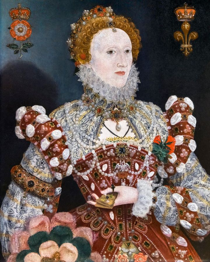 In Nicholas Hilliard's portrait of Elizabeth l (1573-75), the queen is shown beneath a thornless rose, signifying chastity (Credit: Alamy)