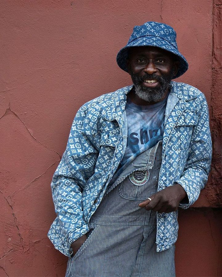 Stylist and stall-holder Frank Akinsete has collaborated with Connolly to upcycle vintage pieces (Credit: Connolly)