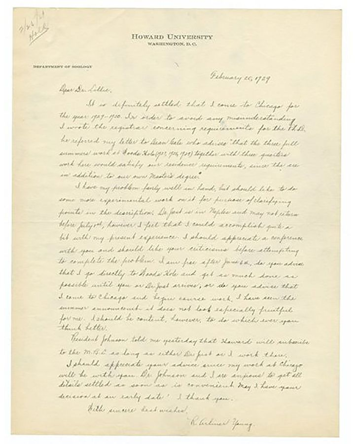A letter that Young wrote to her supervisor Frank Lillie in 1929, shortly before failing her exam (Credit: University of Chicago Library)