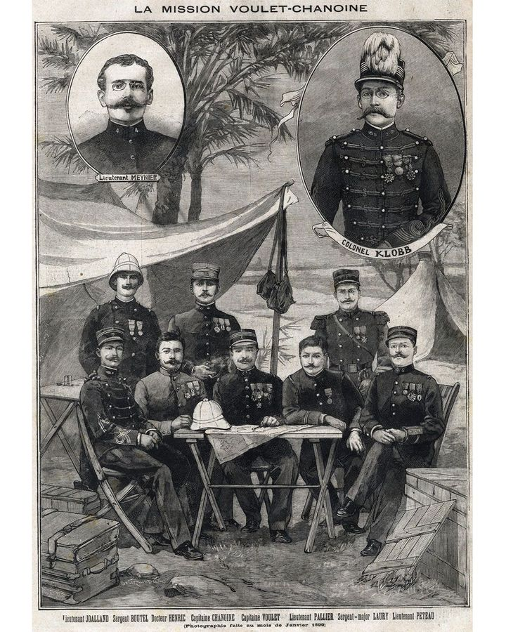 Captain Voulet (bottom right) was sent to conquer the Chad basin and unify all French territories in West Africa; his brutal actions were echoed by those of Kurtz