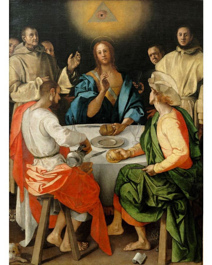 The divine eye in Pontormo's Supper at Emmaus (1525) was a later repainting, hiding a three-sided face prohibited by the Counter-Reformation (Credit: The Uffizi Galleries)