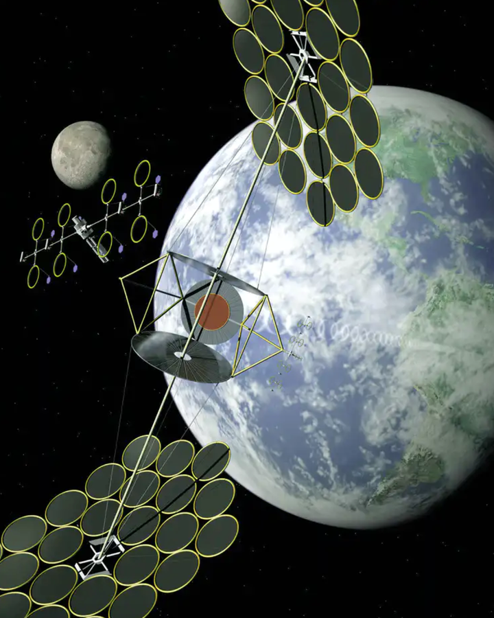 A space solar array could consist of one large structure, or many smaller ones gathered together (Credit: Nasa)