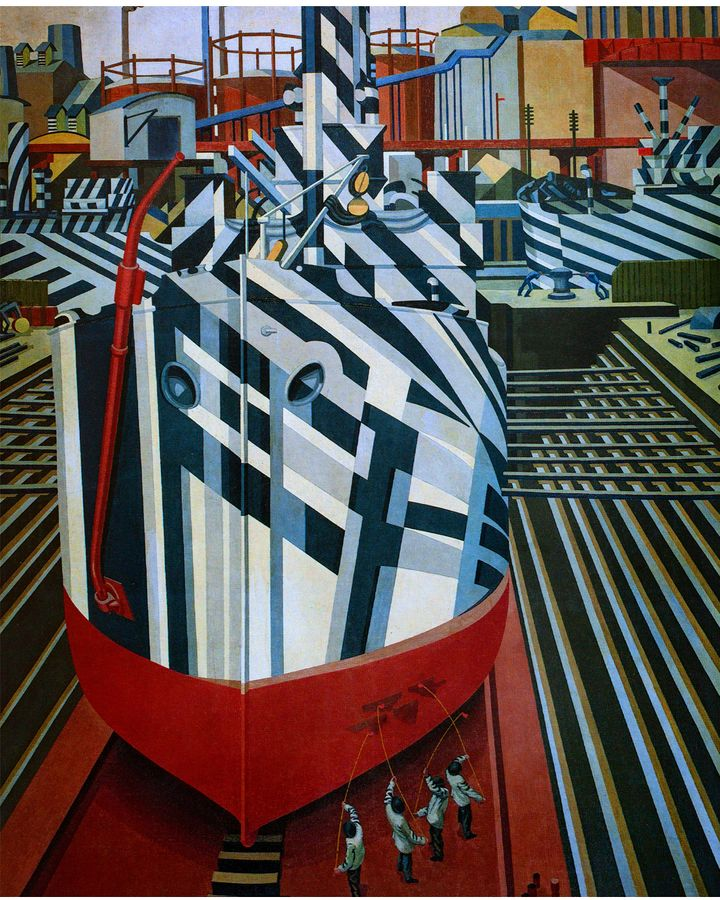 Dazzle-Ships in Drydock at Liverpool (1919) by Edward Wadsworth, who was involved in adding dazzle camouflage designs to ships for the Royal Navy during WW1 (Credit: Alamy)