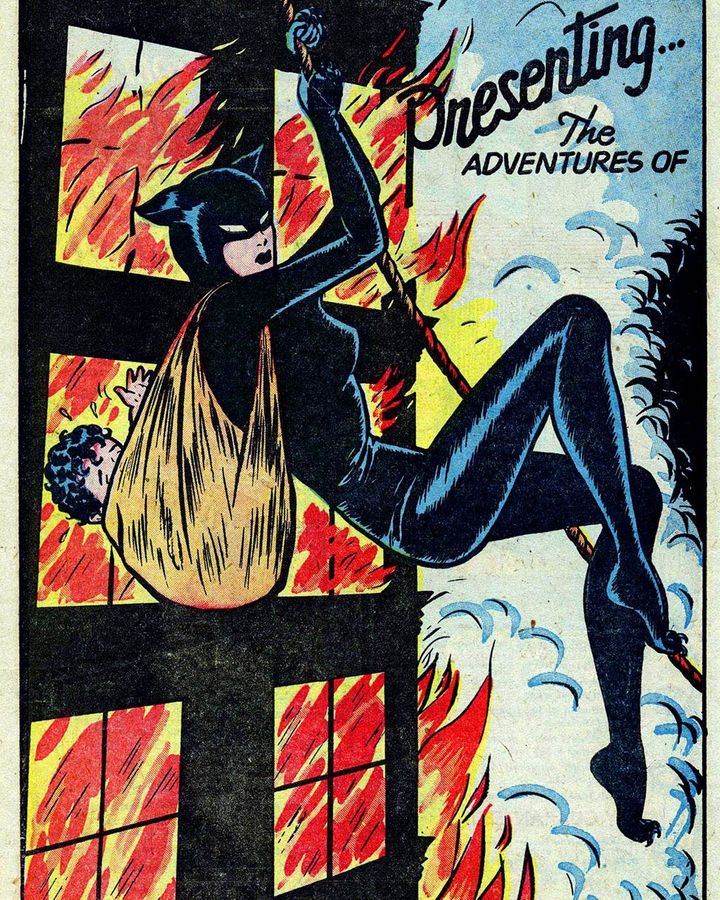 Miss Fury wore a slinky jumpsuit, complete with cat-eared mask, to fight crime a quarter of century before Catwoman came on the scene (Credit: June Tarpé Mills)