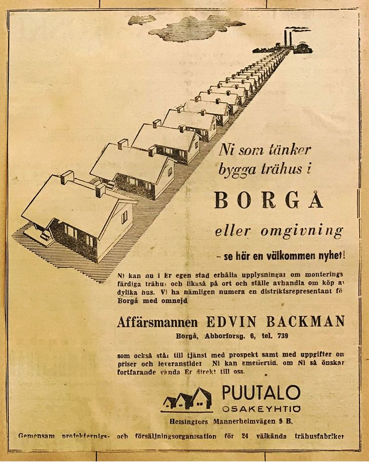 A newspaper ad for Puutalo Oy – the Finnish firm created factory-built, wooden homes to cope with a desperate housing shortage (Credit: Elka Archive)