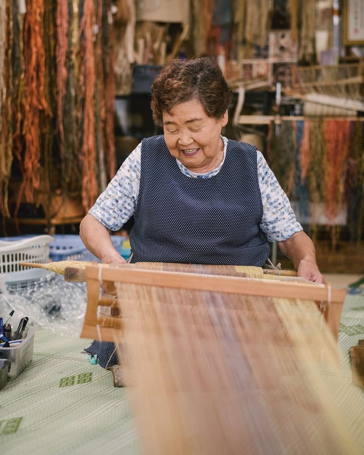 Yukiko Kaizawa is an attoushi weaver in the far north of Japan – she uses shredded tree bark to create textile (Credit: Irwin Wong, Handmade in Japan, gestalten 2020)