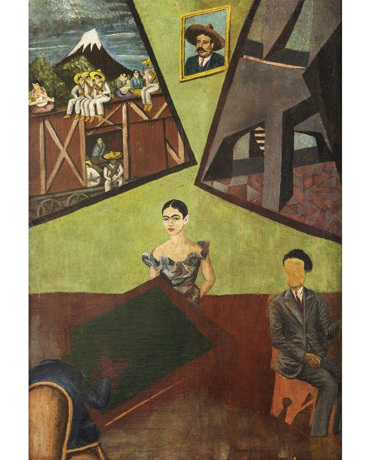 The avant-garde Pancho Villa and Adelita (unfinished) of 1927 indicates Kahlo's interest in Mexican art trends before she met Rivera (Credit: akg-images)