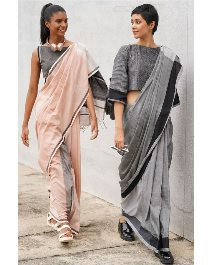 Sri Lankan designer label Urban Drape has a sleek, contemporary look, pairing saris with crop tops (Credit: Urban Drape)