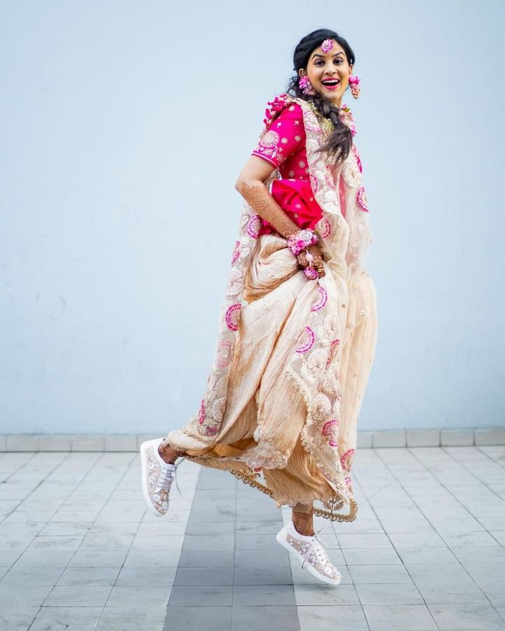 The Indian brand The Saree Sneakers has helped popularise pairing a sari with trainers (Credit: The Saree Sneakers)