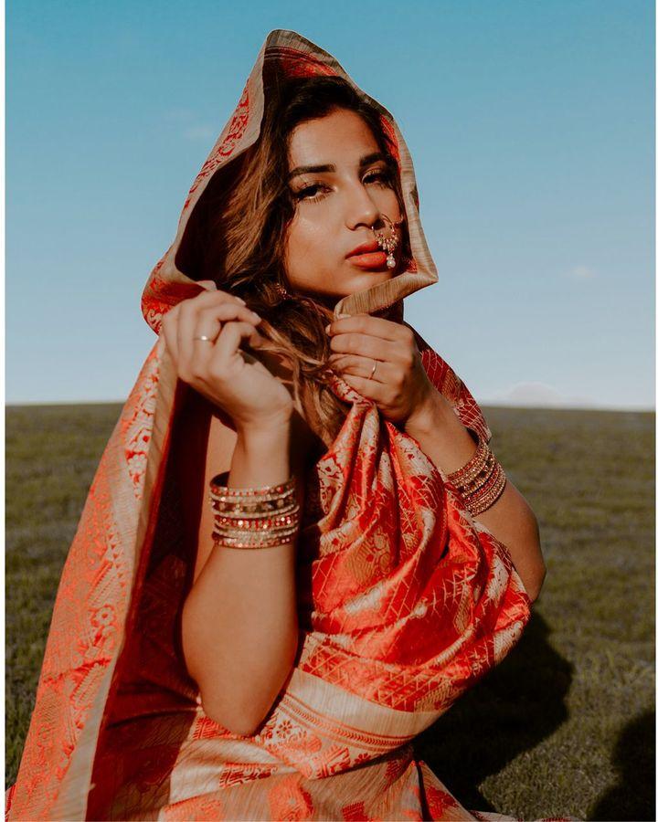 North American fashion influencer Milan Mathew – whose family is from Kerala – posts sari styling tips on social media (Credit: Milan Mathew)