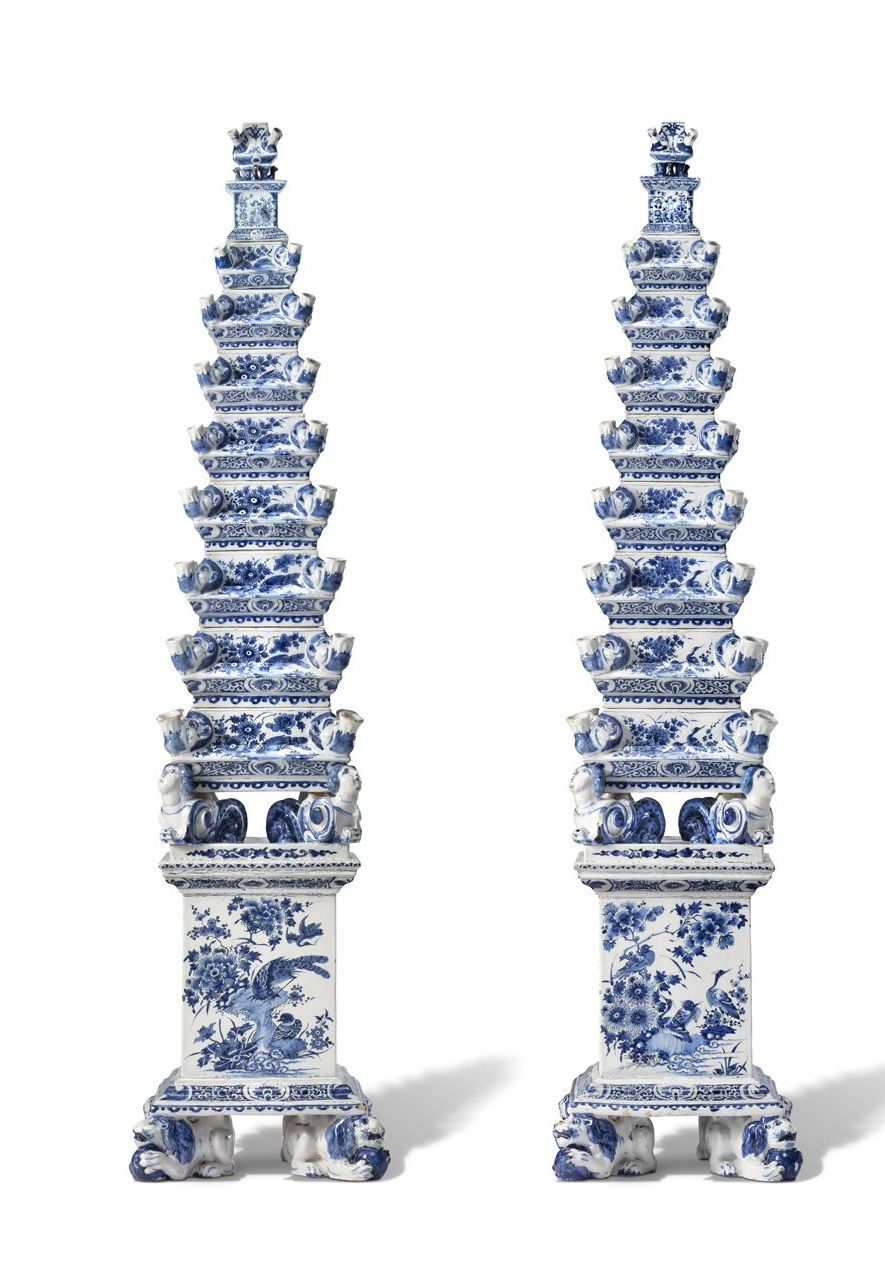 The Delftware flower pyramids are a highlight of the exhibition (Credit: Gerrit Schreurs)