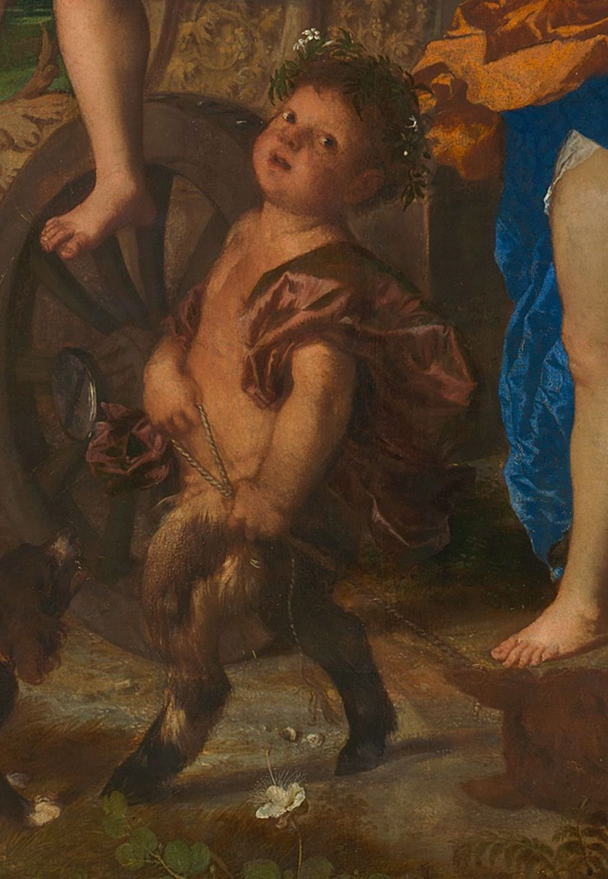 In the centre, a caper flower, which is a natural remedy for flatulence, is coupled with a satyr, a figure also associated with the condition (Credit: National Gallery)