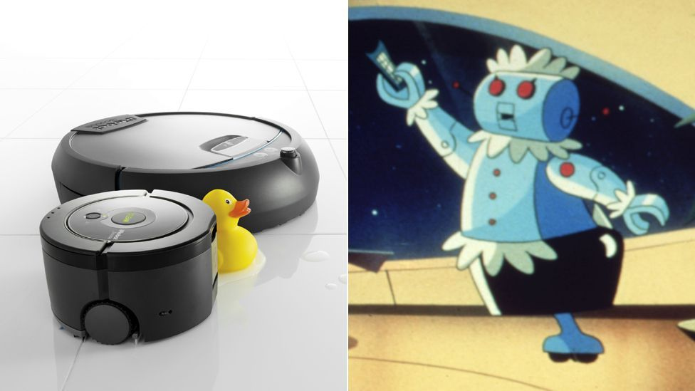 The iRobot Scooba (l) is designed to clean floors but has a long way to go before it catches up with Rosie, the domestic robot in the Jetsons.(Copyright: iRobot, Rex Images)