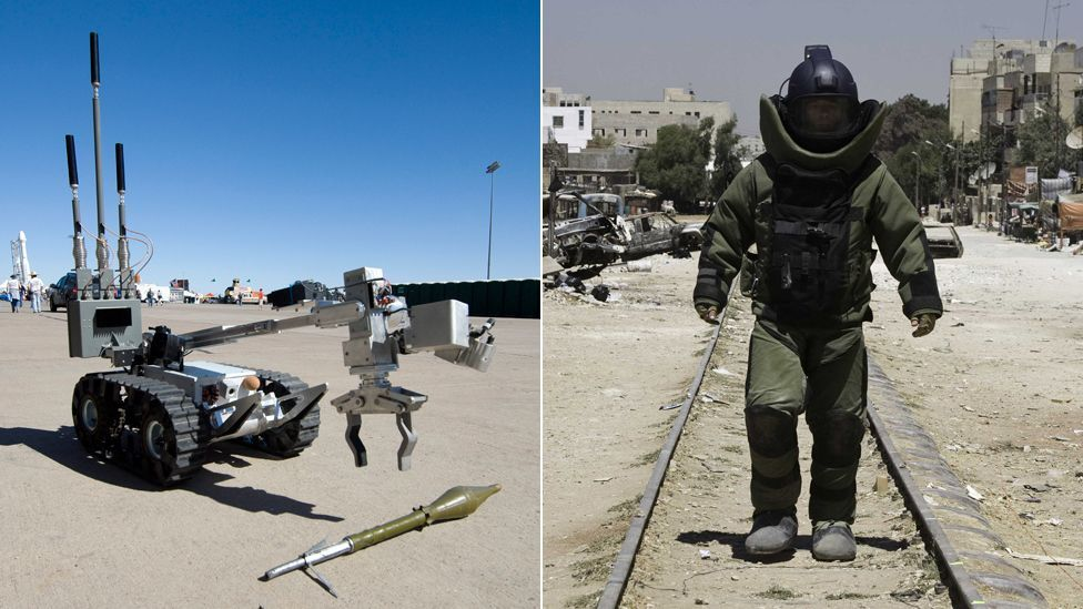 The remotec HD-1 bomb disposal robot (l) seen in the Oscar-winning film The Hurt Locker was one of the few robots that accurately portrays real life. (Copyright: SPL, Rex Images)