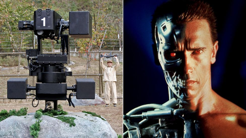 Real robots can fall short of movie fantasies. But a gun-toting sentry on the border of North and South Korea evokes the Terminator films. (Copyright: Getty Images, Rex Images)