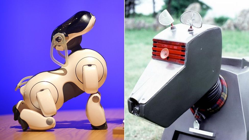 Sony's Aibo robotic pet (l) seems to take its design cues from K9 (r), Doctor Who's faithful canine companion. (Copyright: SPL, BBC)
