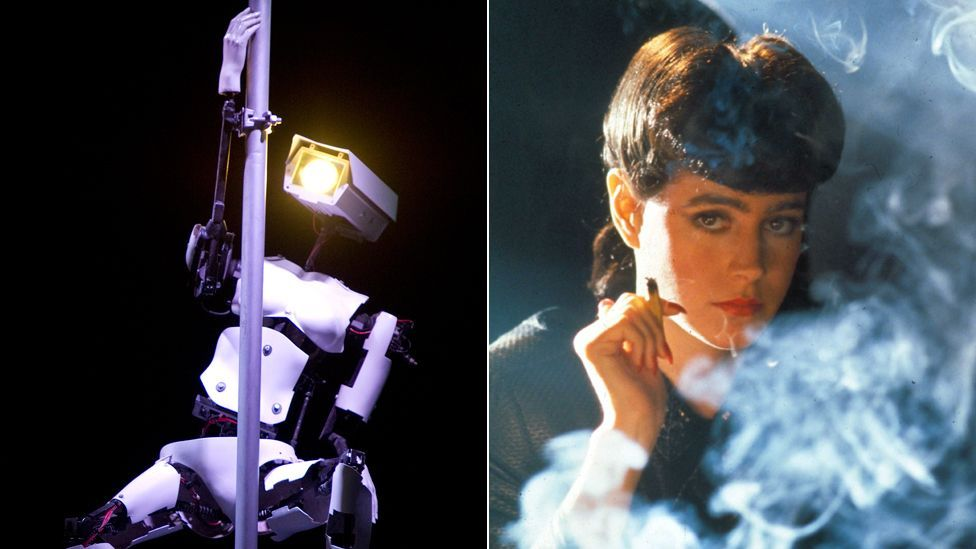 Rachel, a replicant in the film Bladerunner (r), offers a more sophisticated vision of seduction than lap-dancing bots at an electronics fair. (Copyright: Getty Images, Rex Images)