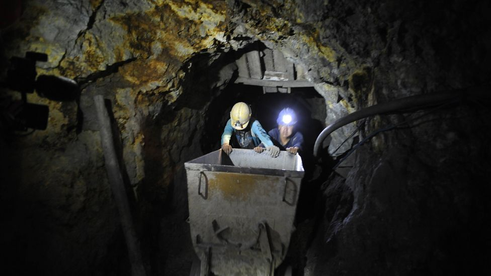 Workers in the Cerro Rico mines work under stifling, confined conditions for hours on end, and die on average before the age of 35. (Copyright: Getty Images)