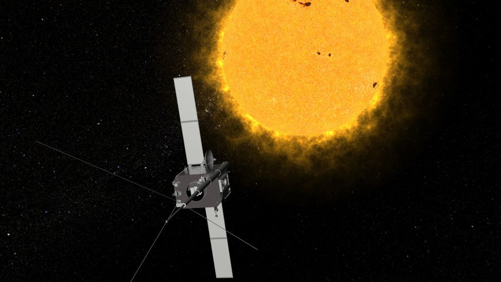 Artist's conception of one of the two Solar Terrestrial Relations Observatory (STEREO) spacecraft that provide views of the entire sun. (Copyright: Nasa)