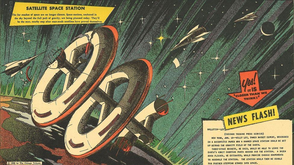 Futuristic cartoons like Closer Than We Think began to appear in newspapers and magazines soon after the launch of Sputnik.