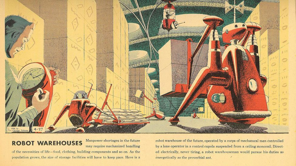 The cartoons often portrayed a utopian vision of technologically dependent futures, embracing science and neglecting any negative consequences.