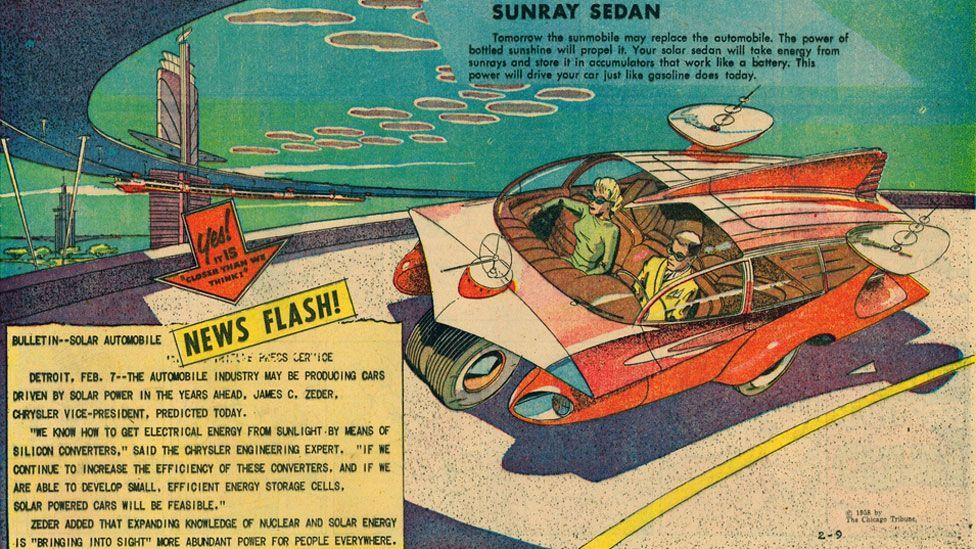 The strips tackled all aspects of science and were often based on a news story of the day, such as this one that was based on an interview with someone from Chrysler.