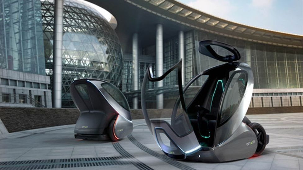 Tianjin Eco-city will be a test-bed for several new technologies. For instance, General Motors will trial its next-generation of driverless EN-V cars. (Copyright: General Motors)