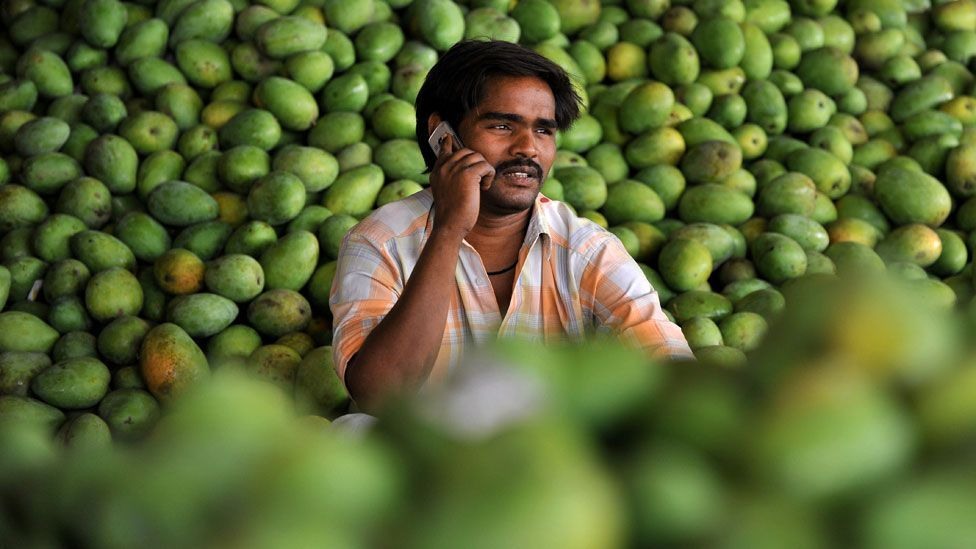 India farmer on mobile phone (Copyright: Getty Images)