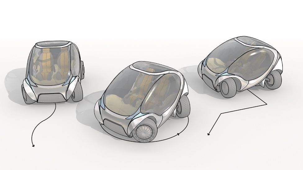 The vehicle's wheels can rotate 60 degrees, meaning the car can essentially move sideways – making parallel parking a lot easier. (Copyright: MIT Media Lab)