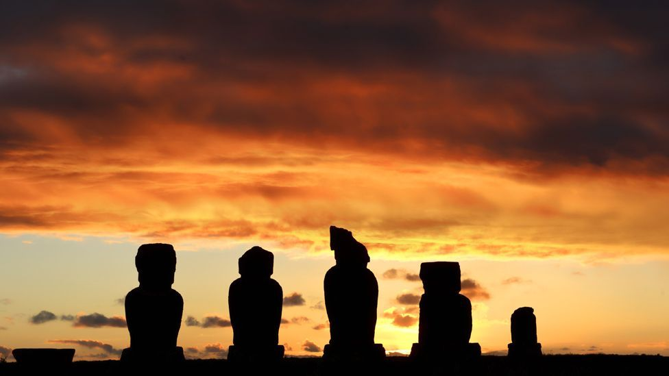 The Polynesian Rapanui settled on this Pacific island around 300AD; cutting down forests to build huge moai statues caused widespread famine. (Copyright: Getty Images)