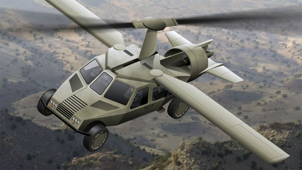 The firm's folding wing technology has also been incorporated into a concept design for a military vehicle known as the Darpa TX or Transformer. (Copyright: Terrafugia)