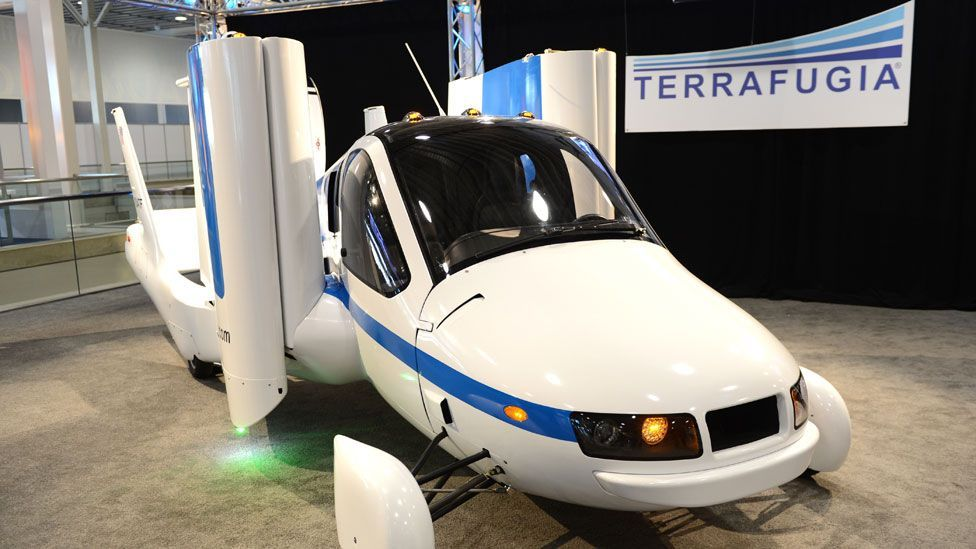 The MIT-designed aircraft has folding wings that are stowed vertically on the sides of the vehicle whilst driving. (Copyright: Terrafugia)