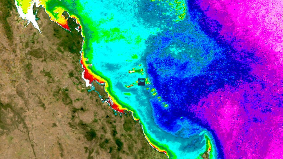The Great Barrier Reef – the world's largest coral reef system – already showing signs of severe bleaching (in red) in 2005 and 2006. (Copyright: Science Photo Library)
