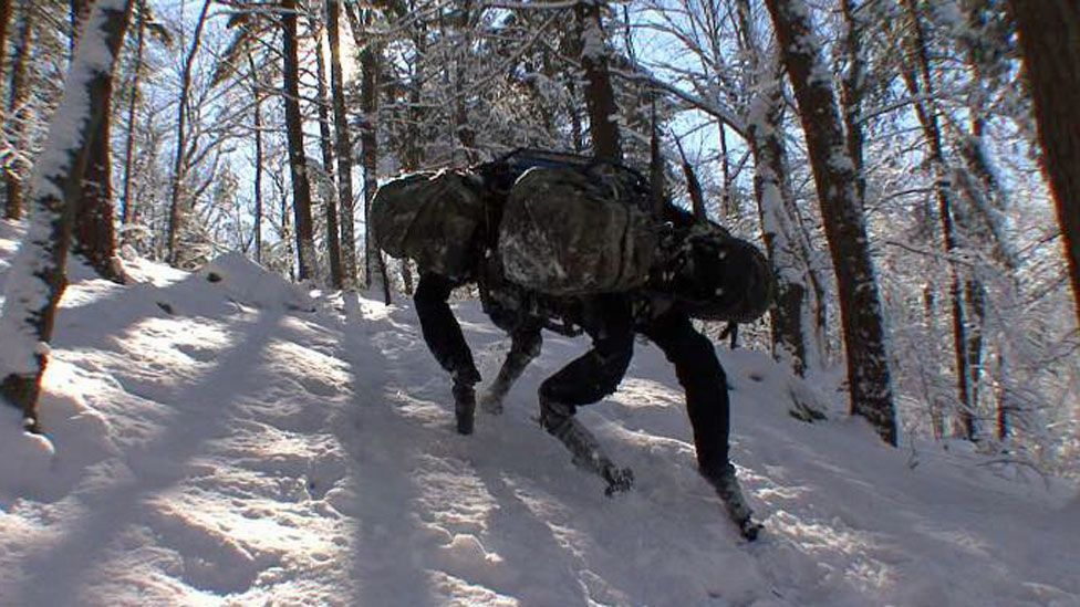The reality is that most robots still depend on humans and most are being developed for more more mundane jobs, such as carrying supplies for troops. (Copyright: Boston Dynamics)
