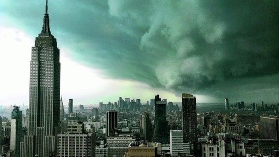 … or this real-life reused image, which appeared in the Wall Street Journal in April 2011 showing a thunderstorm in New York City through a tinted window.