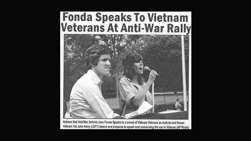 This pic showing Senator John Kerry and Jane Fonda together at an anti-Vietnam War rally emerged during 2004's US election. The meeting never happened. (Courtesy: Fourandsix.com)