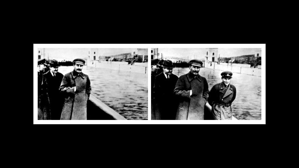 Josef Stalin's Soviet regime regularly retouched photos to remove those who had fallen out of favour, such as the unfortunate commissar on the right. (Courtesy: Fourandsix.com)