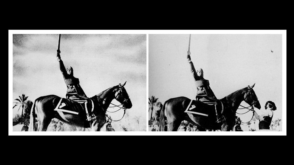 Italian dictator Benito Mussolini had the horse handler removed from this picture in 1942 to make him appear more heroic. (Courtesy: Fourandsix.com)