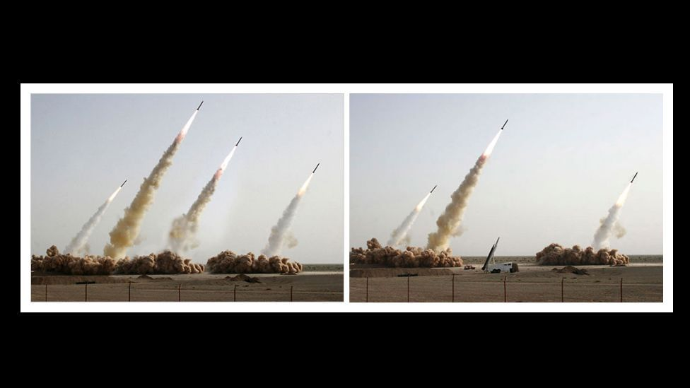 Iran's show of military might in 2008 was doctored to remove a launcher which failed to fire – and replaced with a fourth projectile. (Courtesy: Fourandsix.com)