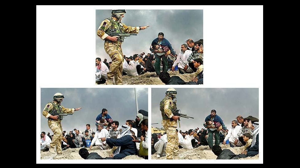 "These images from Iraq in 2003 were merged for the Los Angeles Times by photographer Brian Walski to ""improve the composition"". He was later sacked. (Courtesy: Fourandsix.com)"