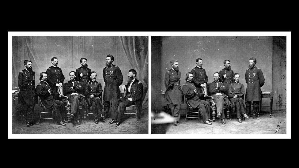 American general Francis P. Blair (right) was added to Mathew Brady's famous photo of General Sherman's retinue because he was not at the meeting. (Courtesy: Fourandsix.com)