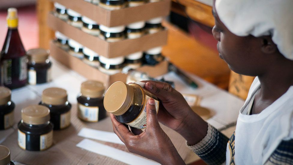The organisation periodically collects the honey from farmers, before jarring it in Nairobi and selling it on the global market. (Copyright: Jonathan Kalan)